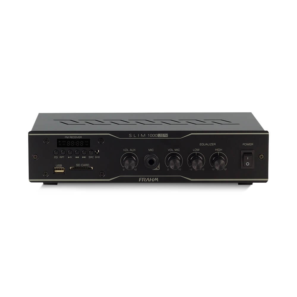 AMPLIFICADOR RECEIVER PARA SOM RESIDENCIAL OU COMERCIAL E AMBIENTE SLIM 1000 USB FM FRAHM 31783