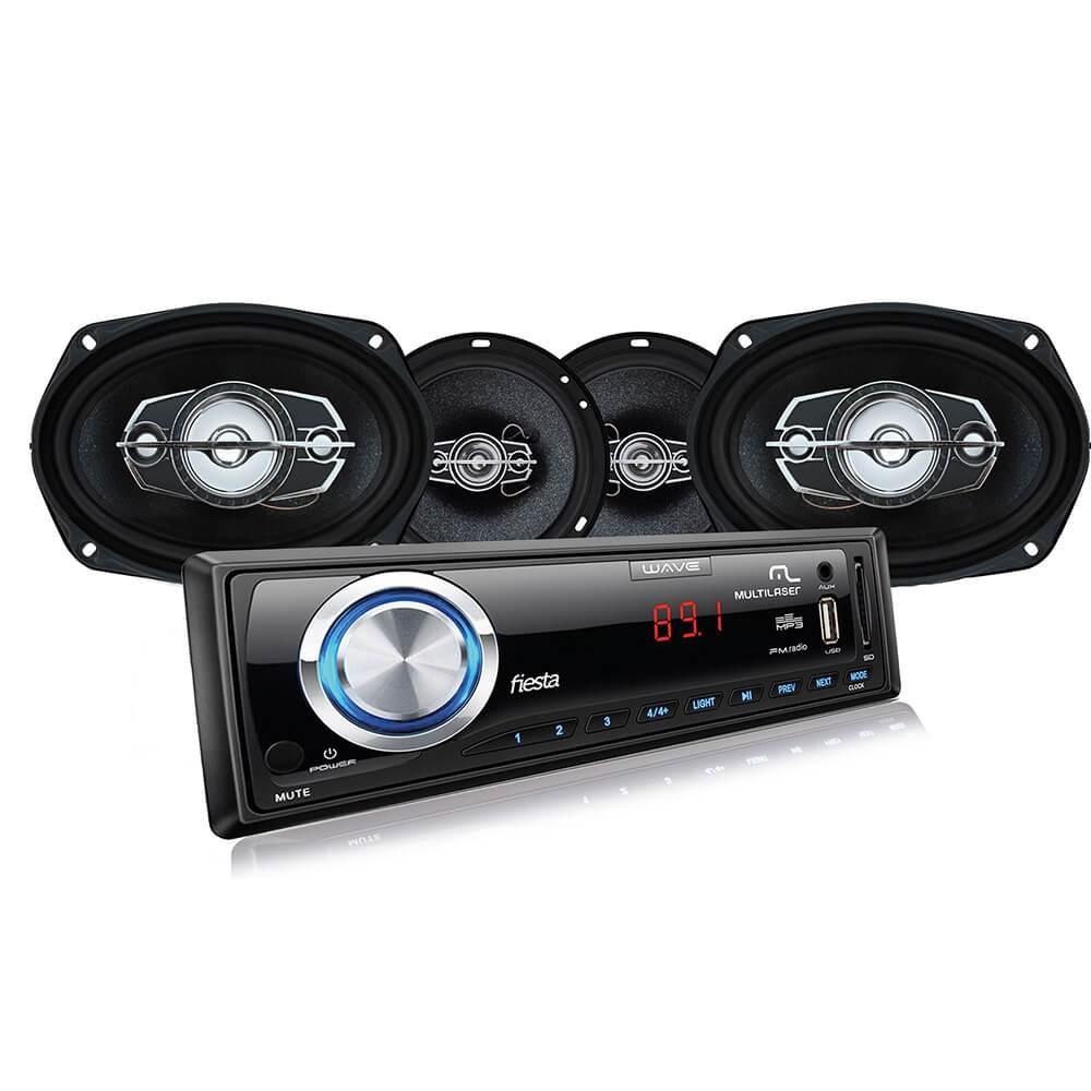 KIT AUTOMOTIVO MULTILASER MP3 + PAR FALANTES 06' E 06X09' AU952