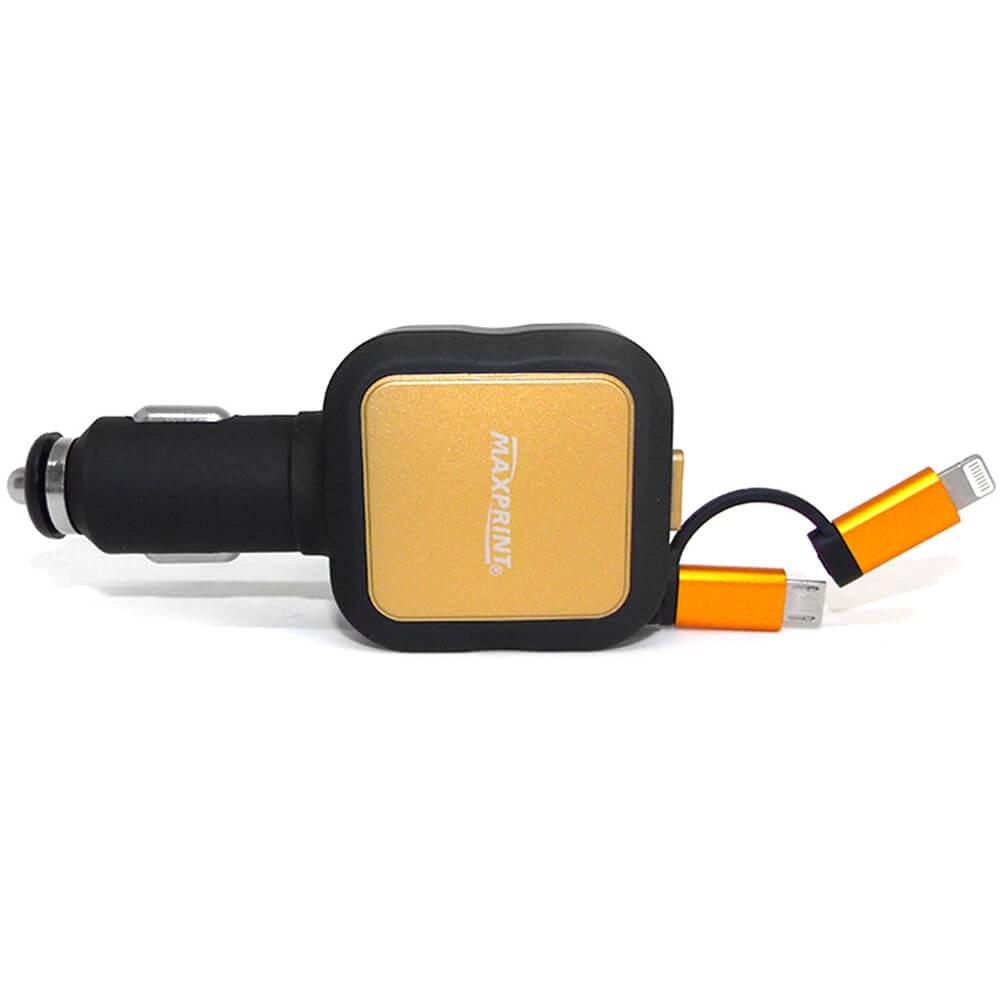 CARREGADOR VEICULAR RETRÁTIL COM 2 PORTAS USB E CABO MAXPRINT