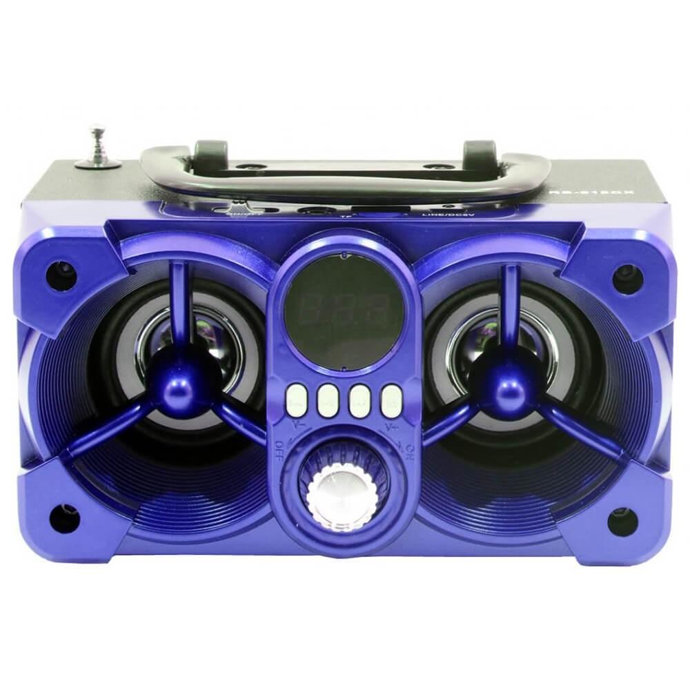CAIXA SOM ROADSTAR RS612CX AZUL 12W RMS BLUETOOTH AUX FM CONTROLE REMOTO