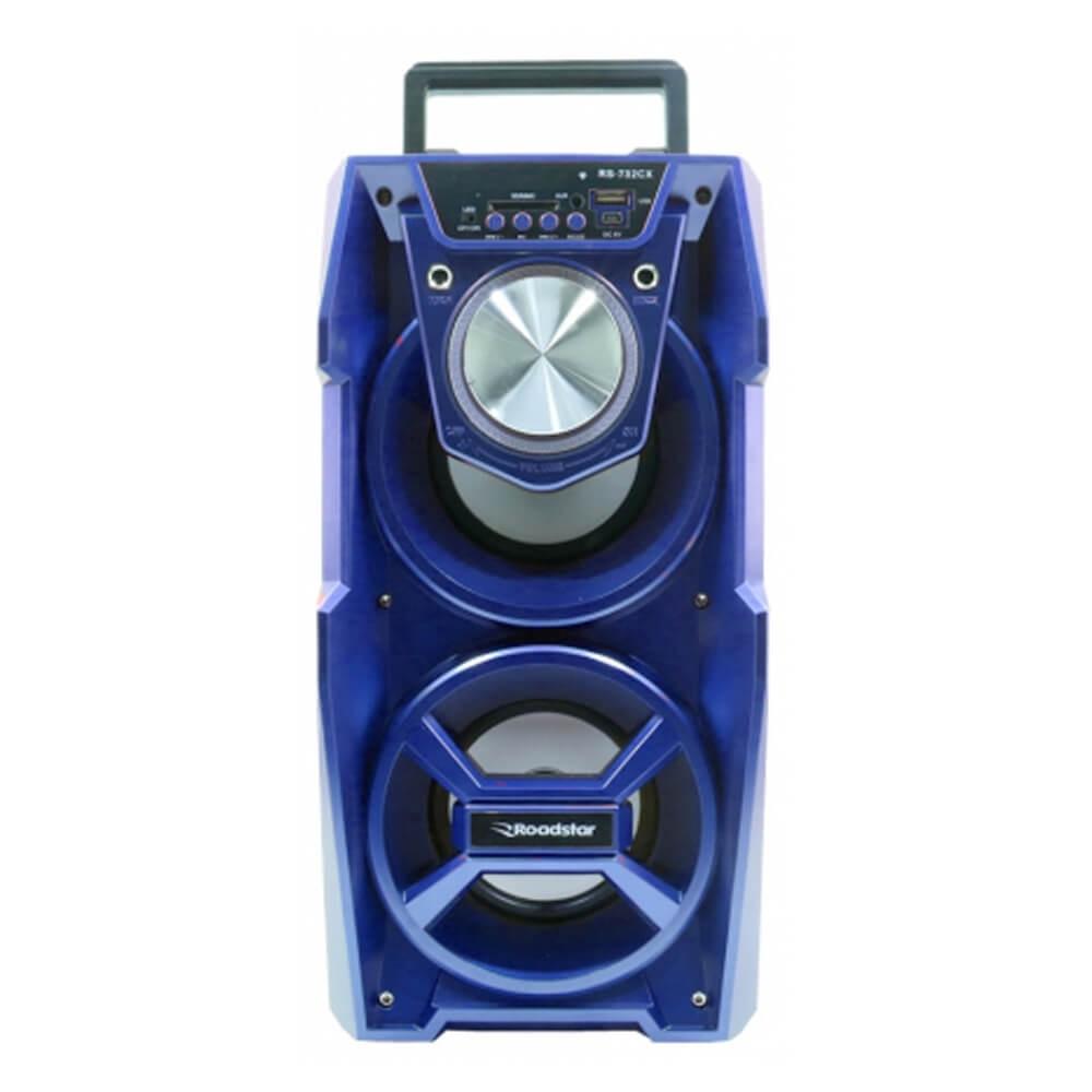 CAIXA SOM ROADSTAR RS732CX AZUL 10W +10W RMS BLUETOOTH KARAOKÊ AUX FM CONTROLE REMOTO