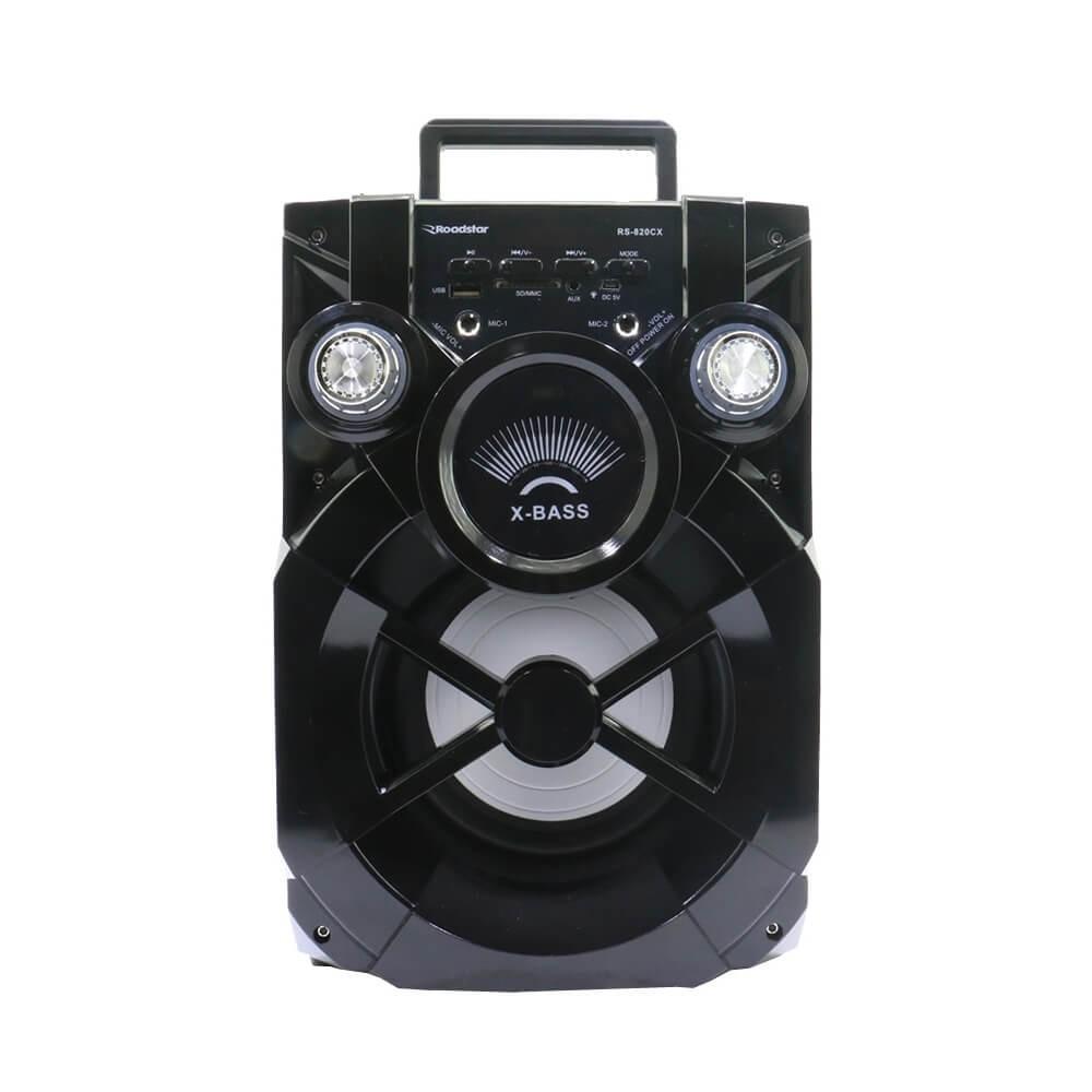 CAIXA SOM ROADSTAR RS820CX PRETO 20W RMS  BLUETOOTH KARAOKE AUX FM CONTROLE REMOTO