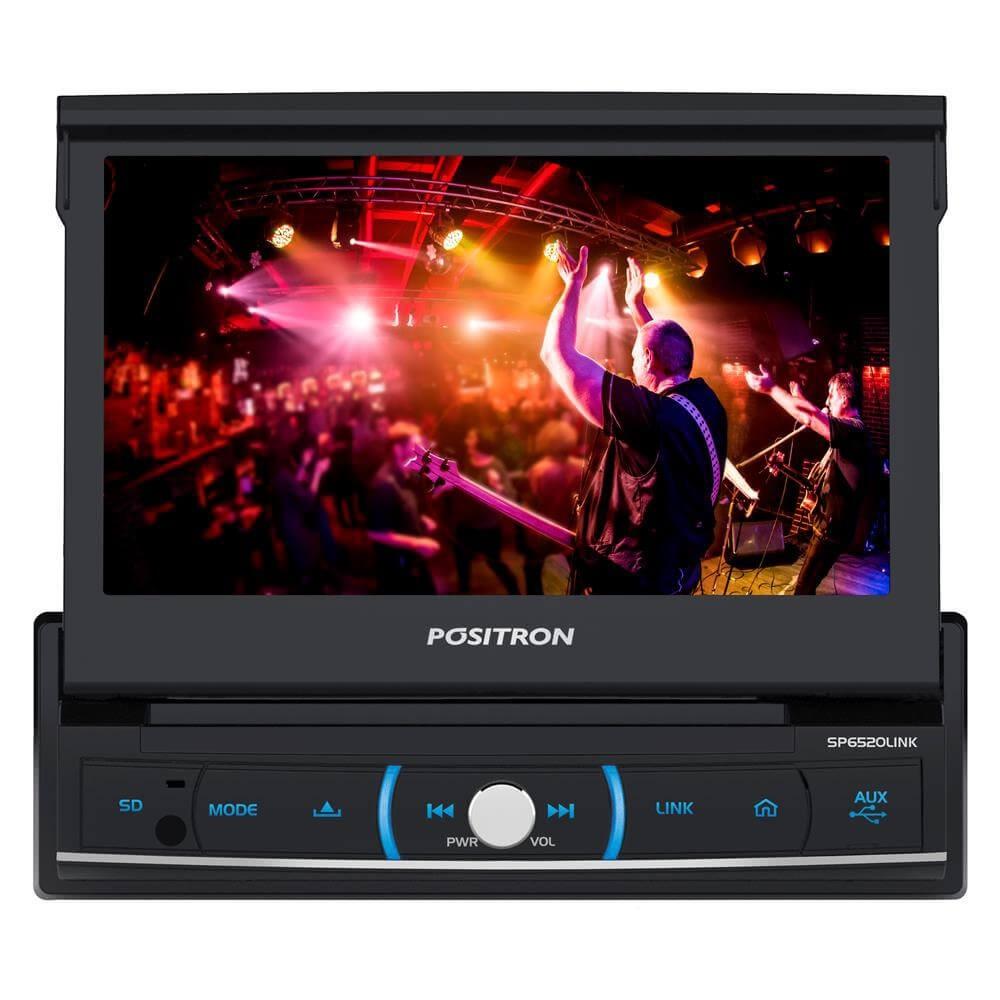 DVD POSITRON SP6520LINK RETRATIL TELA 7 MIRROR P/ IPHONE ENTRADA USB SD TV BLUETOOTH AM FM