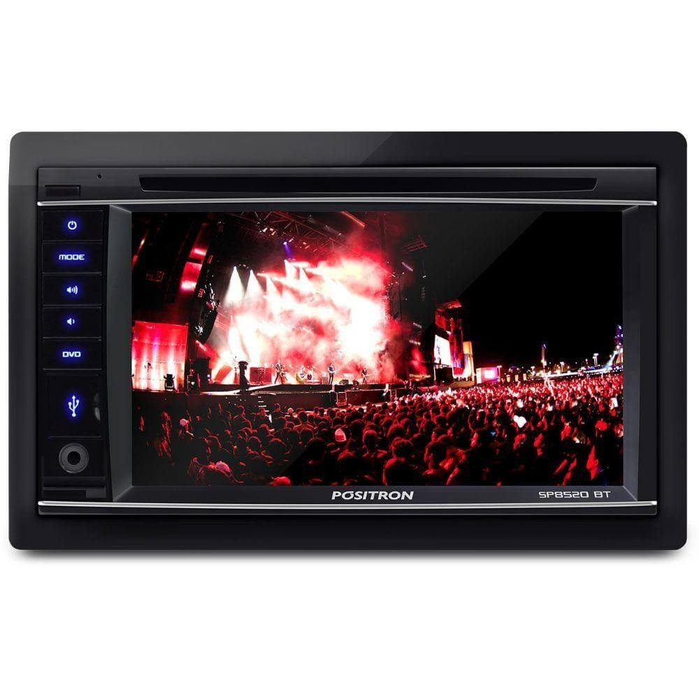 DVD POSITRON SP8520BT 2 DIN TELA 6.2 BLUETOOTH ENTRADA USB SD P2 CD DVD MP3 AM FM
