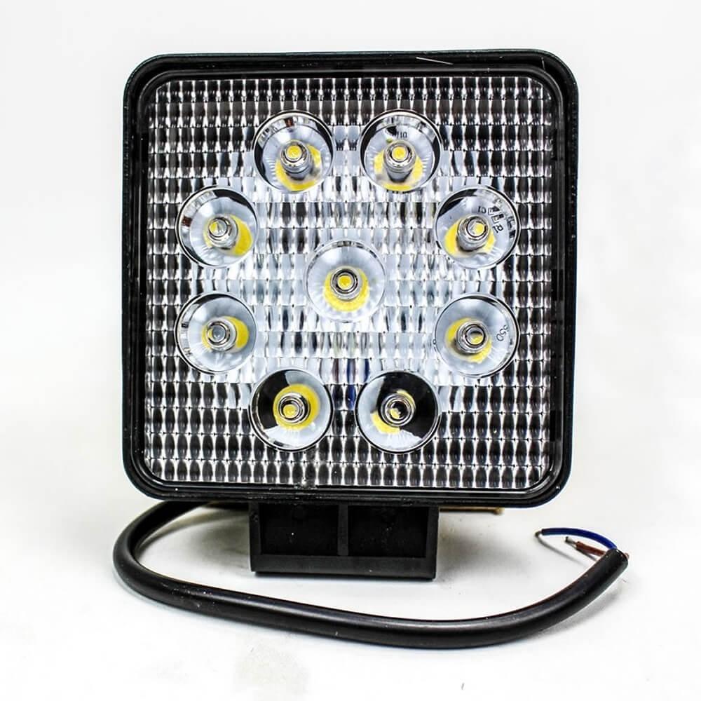 FAROL DE LED QUADRADO 27W COM 9 LEDS CARCACA PRETA MUSTER MRMK0004-27W-F-1
