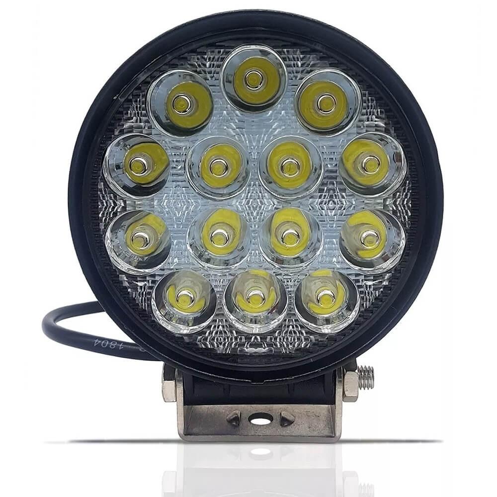 FAROL DE LED REDONDO 42W COM 14 LEDS CARCACA PRETA MUSTER MRMK0004-42W-1