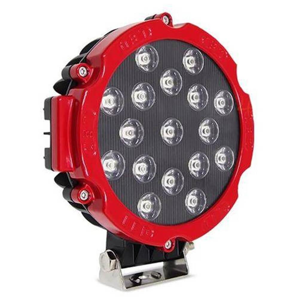 FAROL DE LED REDONDO 51W COM 17 LEDS CARCACA PRETA ARO VERMELHO MUSTER MRMK0004-51W-Y