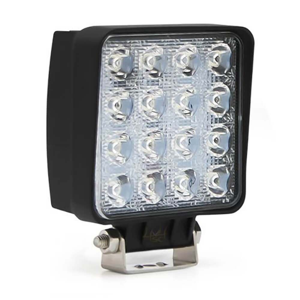 FAROL DE MILHA LED AUXILIAR SPOT 16 LEDS 48W QUADRADO OFF ROAD MK2 9199 48SQ/S/F