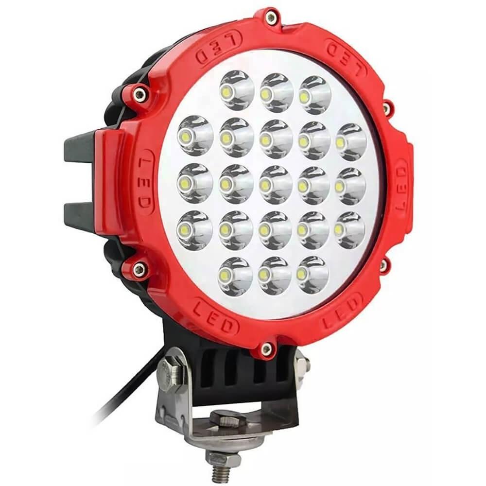 FAROL DE MILHA LED AUXILIAR SPOT 21 LEDS 63W REDONDO OFF ROAD VERMELHO MK2 9181