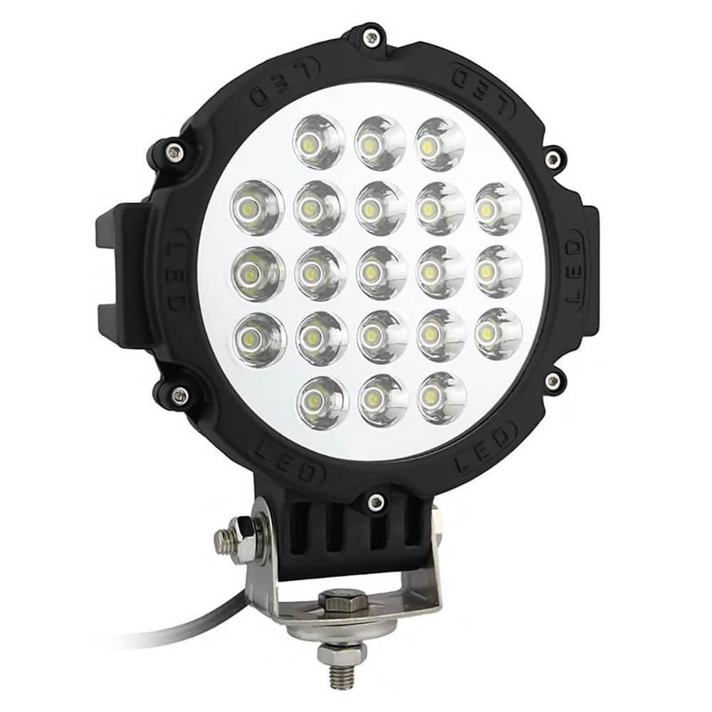 FAROL DE MILHA LED AUXILIAR SPOT 21 LEDS 63W REDONDO OFF ROAD PRETO MK2