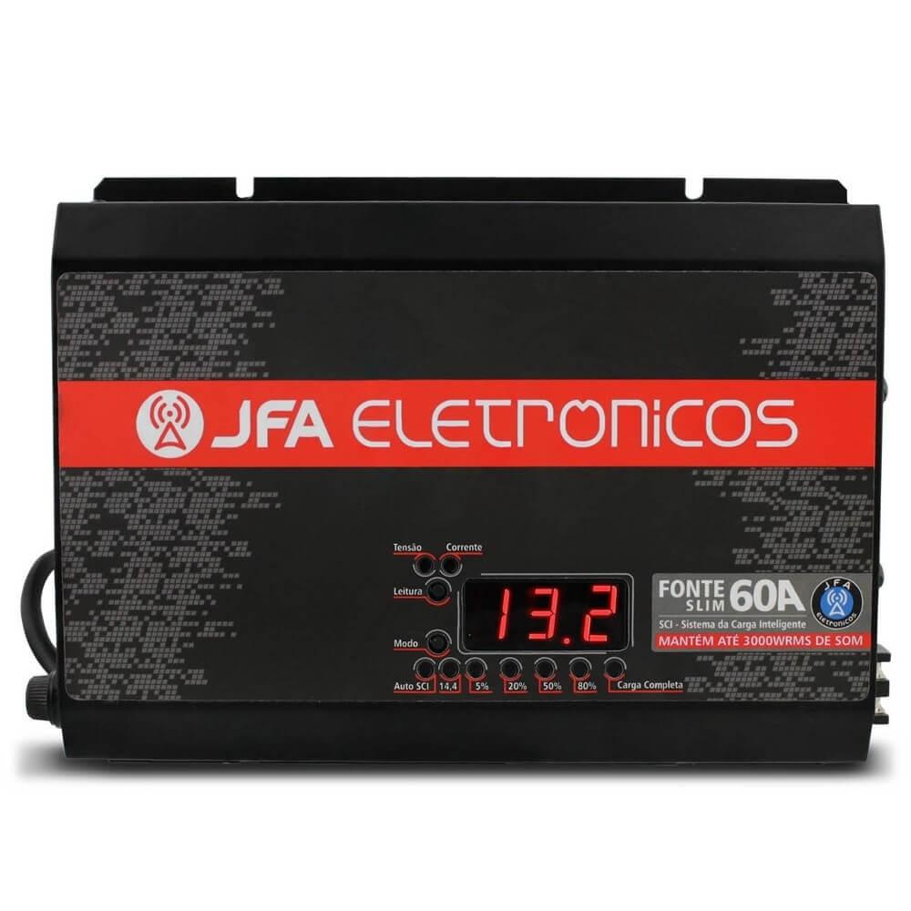FONTE CARREGADOR DE BATERIA JFA 60A SLIM MODELO NOVO JFA