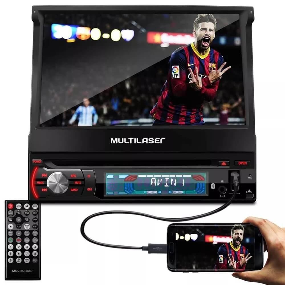 DVD 7 RETRÁTIL MULTILASER EXTREME GPS TV USB BLUETOOTH  MULTILASER