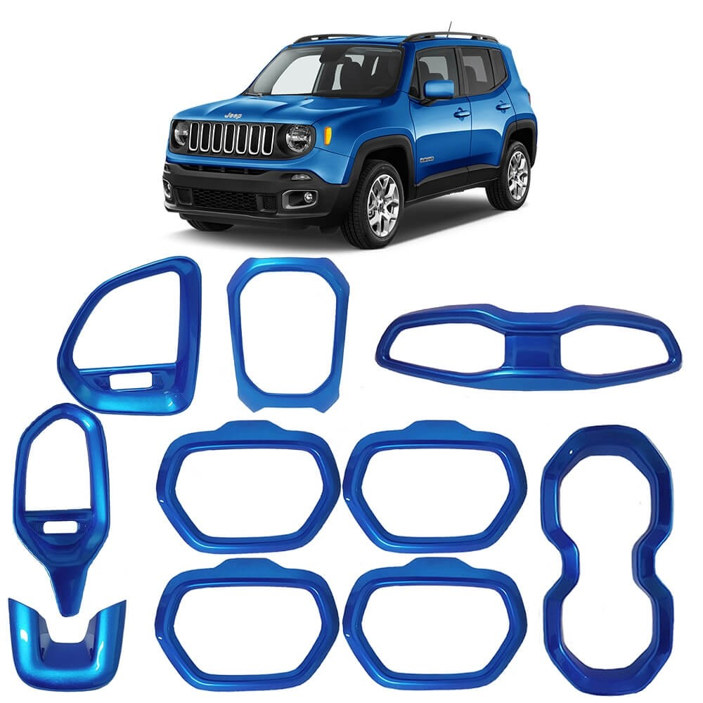 KIT MOLDURAS INTERNA JEEP RENEGADE 2015/2018 ABS AZUL MK2