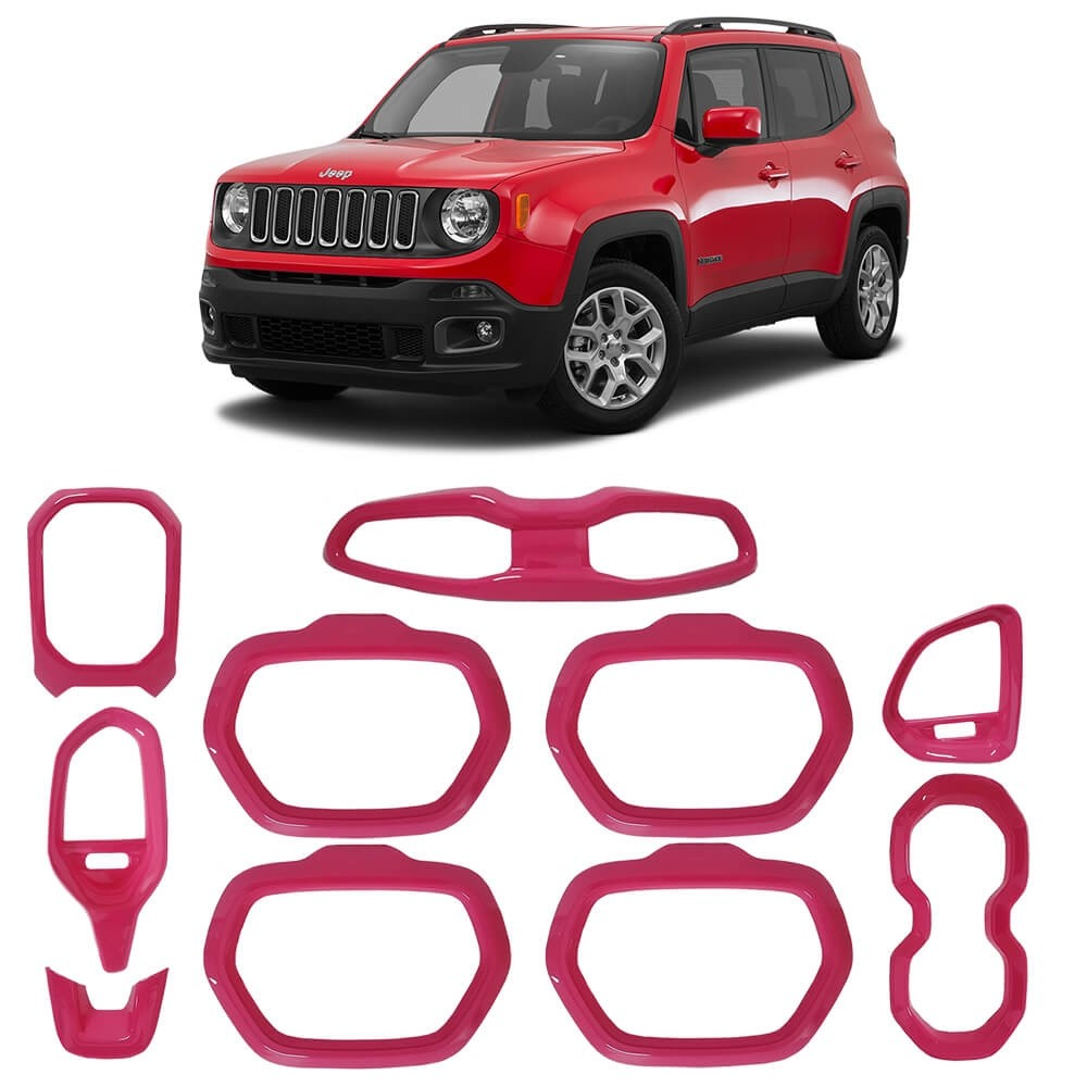 KIT MOLDURAS INTERNA JEEP RENEGADE 2015/2018 ABS ROSA MK2