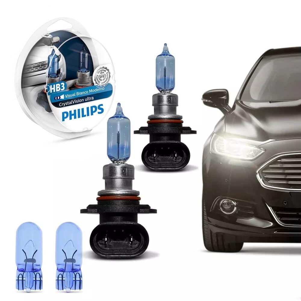 KIT LÂMPADA PHILIPS HB3 CRYSTAL VISION SUPER BRANCA 12 VOLTS 60W 4300K + PINGO 9005CVUSM