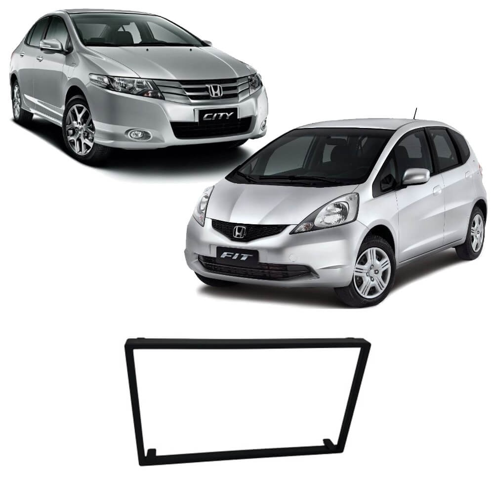 MOLDURA PAINEL ARO DVD 2 DIN ARREMATE HONDA FIT 04 ATE 12 CITY DX 09 ATE 12 BLACK PIANO FIAMON 4057R