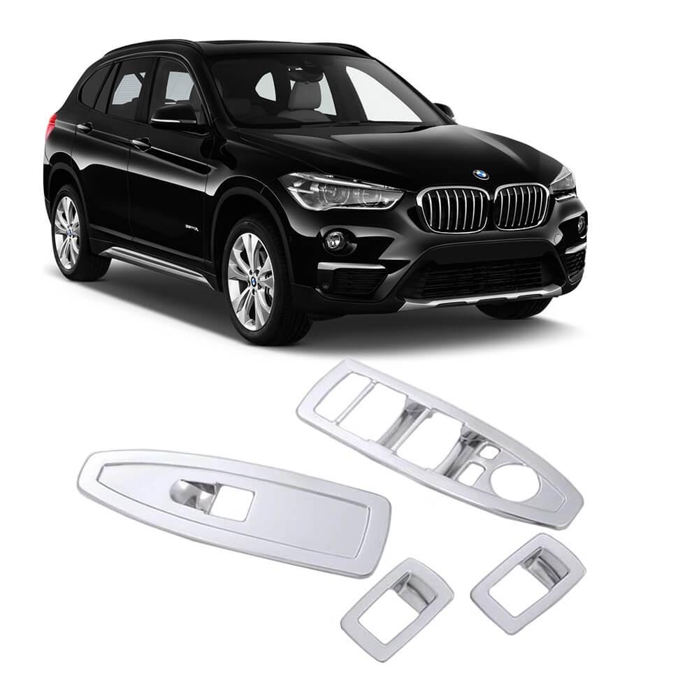 MOLDURA INTERRUPTOR VIDRO ELÉTRICO BMW X1 2016 A 2020 ABS PRATA MK2