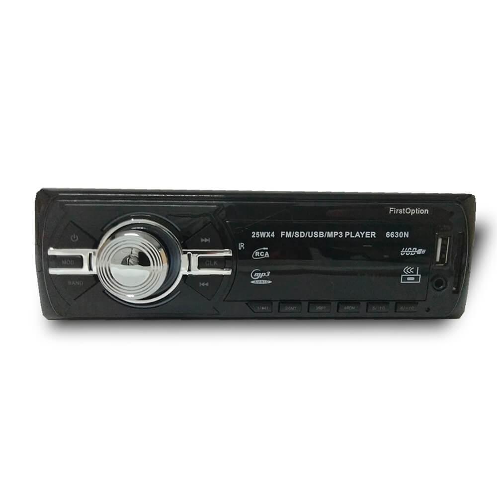 MP3 COM ENTRADA USB AUX SD CARD FRONTAL FM 4 SAIDAS 25W RMS COM CONTROLE FIRST OPTION 6630N