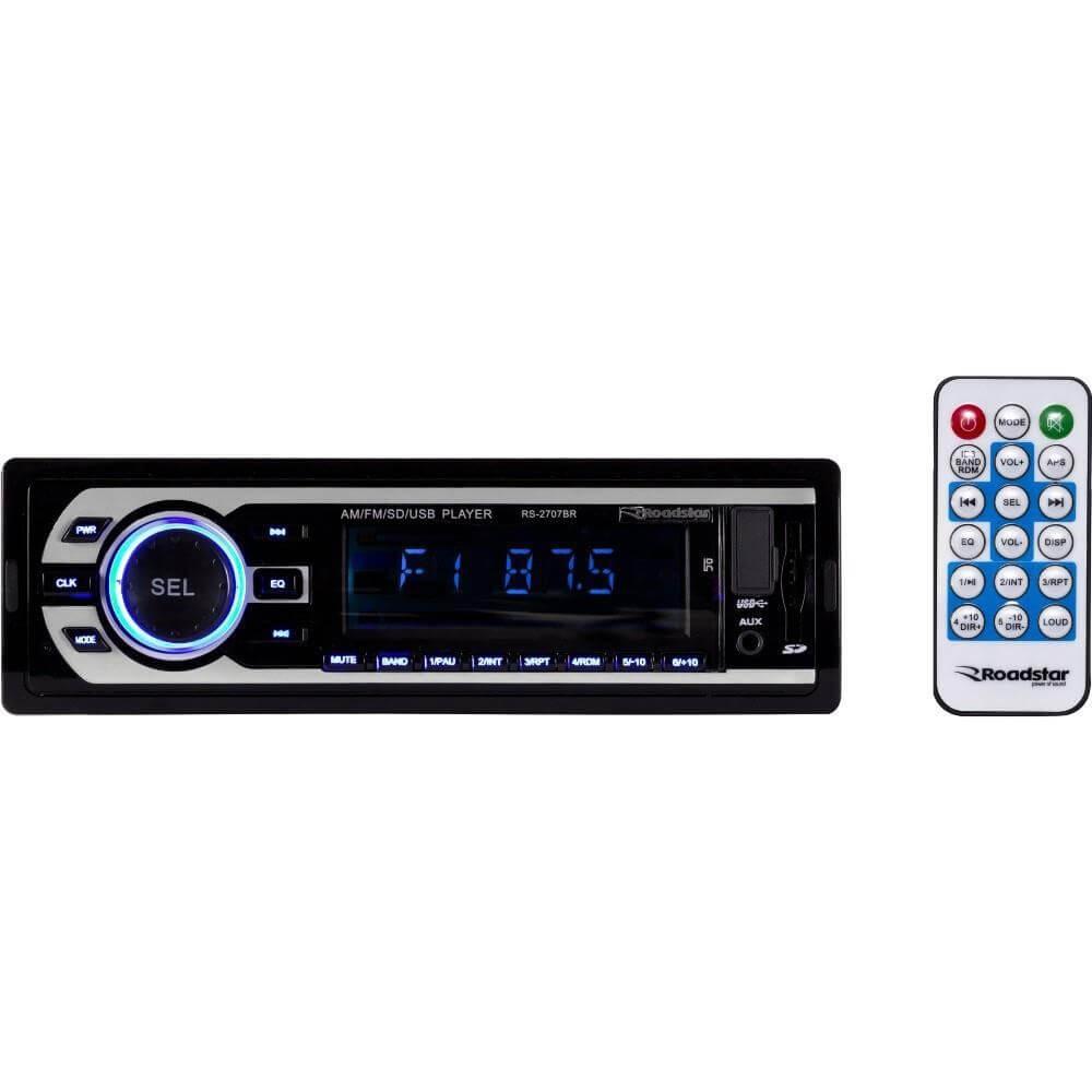 MP3 ROADSTAR RS2707BR SD USB AM FM CONTROLE REMOTO