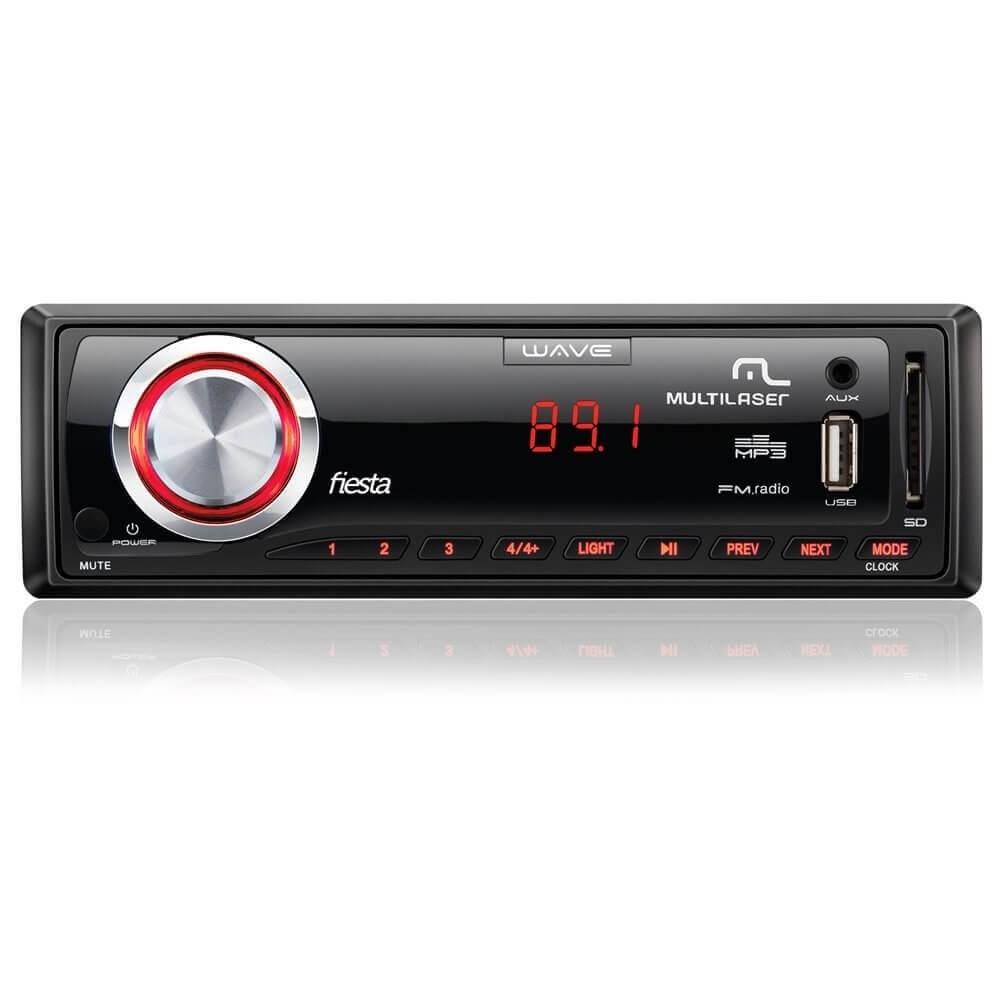 MP3 MULTILASER WAVE FIESTA PRETO 7 CORES DE LED  USB AUX SD 4X45 SEM AM FUNÇÃO TROCA DE PASTAS