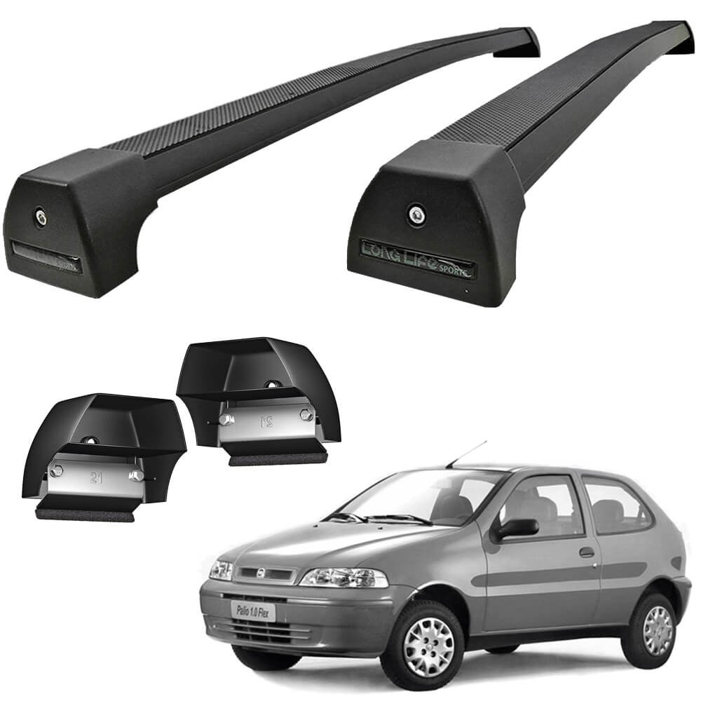 RACK TETO PALIO 2P 1996/2012 ALUMÍNIO SPORTS PRETO LONG LIFE