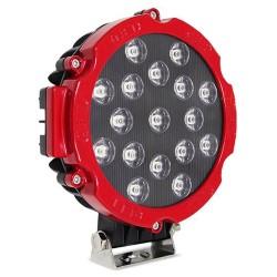 FAROL DE MILHA LED AUXILIAR SPOT 17 LEDS 51W REDONDO OFF ROAD VERMELHO MK2