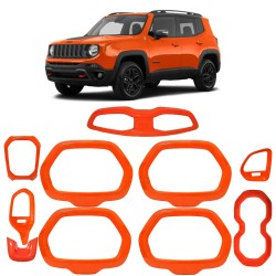 KIT MOLDURAS INTERNA JEEP RENEGADE 2015/2018 ABS LARANJA MK2