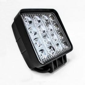 FAROL DE LED QUADRADO 48W COM 16 LEDS CARCAÇA PRETA MUSTER MRMK0004-48W-1